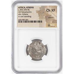 393-294 BC Attica Athens AR Tetradrachm Athena Owl Coin NGC Choice XF