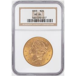 1903 $20 Liberty Head Double Eagle Gold Coin NGC MS64