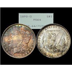 1890-O $1 Morgan Silver Dollar Coin PCGS MS64 Rattler Holder Amazing Toning