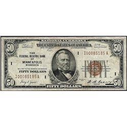 1929 $50 Federal Reserve Bank Note Minneapolis