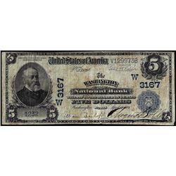 1902PB $5 Washington NB Washington, Kansas CH# 3167 National Currency Note
