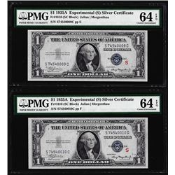 """(2) Consec. 1935A $1 """"S"""" Experimental Silver Certificate Notes PMG Uncirculated 64EPQ"""