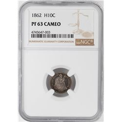 1862 Proof Seated Liberty Half Dime Coin NGC PF63 Cameo