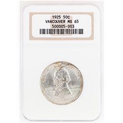 1925 Vancouver Centennial Commemorative Half Dollar Coin NGC MS65