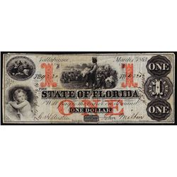1863 $1 The State of Florida Obsolete Note