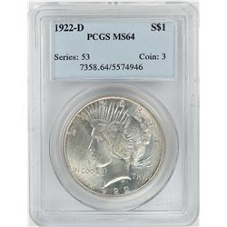 1922-D $1 Peace Silver Dollar Coin PCGS MS64