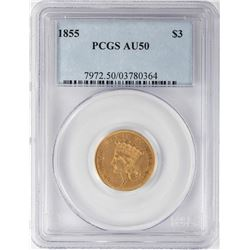 1855 $3 Indian Princess Head Gold Coin PCGS AU50