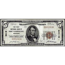1929 $5 First NB of Port Washington, Wisconsin CH# 9419 National Currency Note
