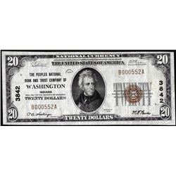 1929 $20 Peoples Bank & Trust of Washington, Indiana CH# 3842 National Currency Note