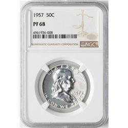 1957 Franklin Half Dollar Coin NGC PF68
