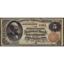 1882BB $5 American Exchange Bank New York, NY CH# 1394 National Currency Note