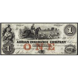 1800's $1 Adrian Insurance Company Michigan Obsolete Note