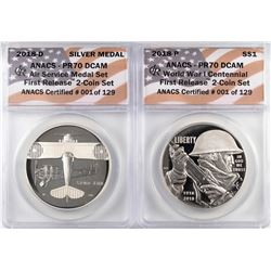 2018-P Proof $1 WWI Centennial Coin & Air Service Medal Set ANACS PR70 DCAM First Release
