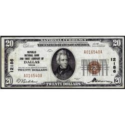 1929 $20 National Bank Dallas, TX CH# 12186 National Currency Note