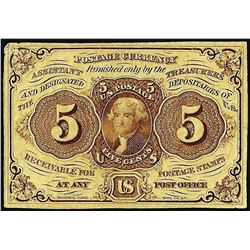 July 17, 1862 First Issue Five Cents Fractional Currency Note