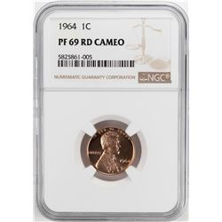 1964 Proof Lincoln Memorial Cent Coin NGC PF69RD Cameo