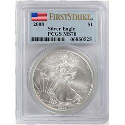 2008 $1 American Silver Eagle Coin PCGS MS70 First Strike
