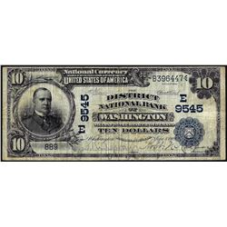 1902 DB $10 Franklin NB of Washington, DC CH# 9545 National Currency Note