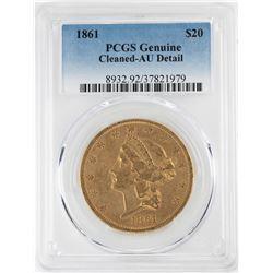 1861 $20 Liberty Head Double Eagle Gold Coin PCGS AU Details