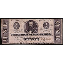 1863 $1 Confederate States of America Note