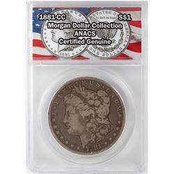 1881-CC $1 Morgan Silver Dollar Coin ANACS Certified Genuine
