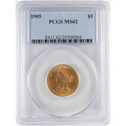 1905 $5 Liberty Head Half Eagle Gold Coin PCGS MS62