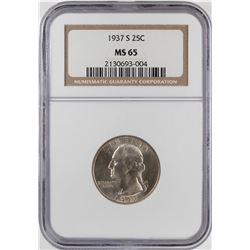 1937-S Washington Quarter Coin NGC MS65