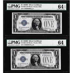 (2) Consecutive 1928B $1 Silver Certificate Notes Fr.1602 PMG Choice Uncirculated 64EPQ