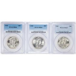 Lot of (3) 1945 Walking Liberty Half Dollar Coins NGC MS64