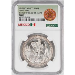 1962Mo Mexico Battle of the Cinco De Mayo Silver Coin NGC MS67