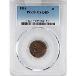 1888 Indian Head Cent Coin PCGS MS63BN