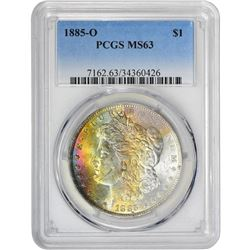 1885-O $1 Morgan Silver Dollar Coin PCGS MS63 Amazing Toning