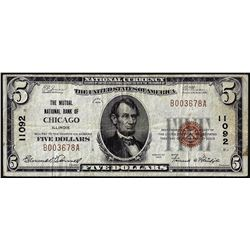 1929 $5 Mutual NB of Chicago, IL CH# 11092 National Currency Note