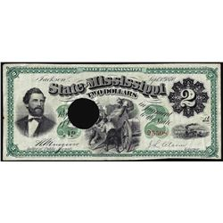 1870 $2 Jackson, State of Mississippi Obsolete Note