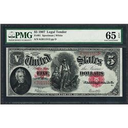 1907 $5 Woodchopper Legal Tender Note Fr.91 PMG Gem Uncirculated 65EPQ