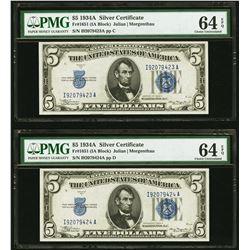 1934A $5 Consecutive Silver Certificates PMG 64EPQ