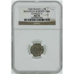 1550 France 1/2 Blanc Besancon Robertys Charles V NGC AU55