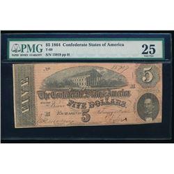 1864 $5 Confederate States of America Note PMG 25
