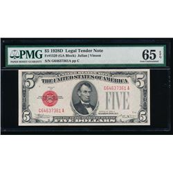 1928D $5 Legal Tender Note PMG 65EPQ