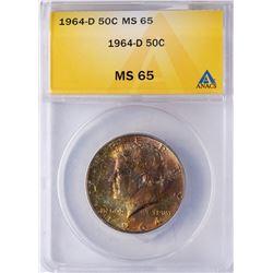 1964-D Kennedy Half Dollar Coin ANACS MS65 AMAZING TONING