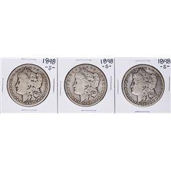 Lot of (3) 1898-S $1 Morgan Silver Dollar Coins