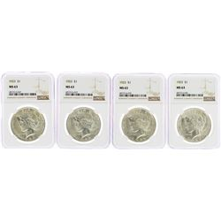 Lot of (4) 1923 $1 Peace Silver Dollar Coins NGC MS63