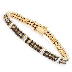 Plated 18KT Yellow Gold 9.15ctw Black Sapphire and Diamond Bracelet