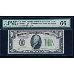 1934 $10 New York Federal Reserve Note PMG 66EPQ