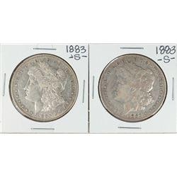 Lot of (2) 1883-S $1 Morgan Silver Dollar Coins
