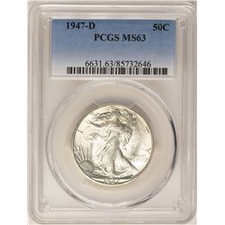 1947-D Walking Liberty Half Dollar Coin PCGS MS63