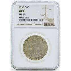 1936 York County, Maine Tercentenary Commemorative Half Dollar Coin NGC MS65