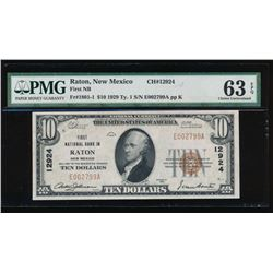 1929 $10 Raton National Bank Note PMG 63EPQ