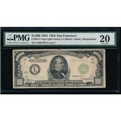 1934 $1000 San Francisco Federal Reserve Note PMG 20
