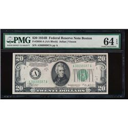 1934B $20 Boston Federal Reserve Note PMG 64EPQ